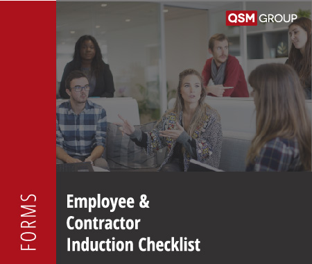 Employee and Contractor Induction Checklist Quality Health Safety Environment Management Compliance Services Australia QHSE Consulting And Auditing Mango Compliance Software Solutions